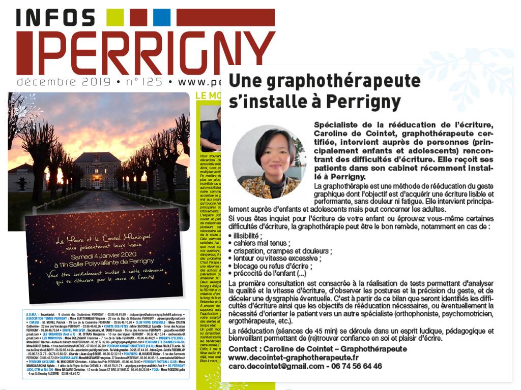 Journal de Perrigny (89, Yonne) Caroline de Cointet - Graphothérapeute)